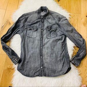 Kooples washed effect denim button shirt distress